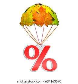 Paper price tag label as percent sign go down on a parachute in the form of vibrant maple leaves on white background. Autumn sale shopping season or advertising announcement template. 3d rendering