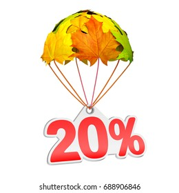 Paper price tag label as twenty percent (20%) go down on a parachute in the form of vibrant maple leaves on white background. Autumn sale shopping season or advertising announcement. 3d rendering