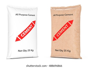 Paper Sacks Cement Bags on a white background. 3d Rendering