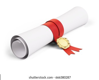 Paper scroll diploma with red ribbon and Gold seal on a white background. 3d render