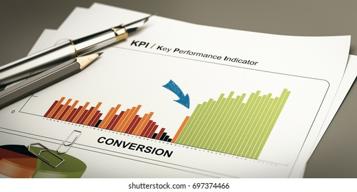Paper sheet with conversion rates statistics and rapid performance, 3D illustration.