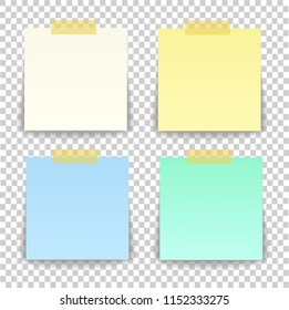 Paper sheet on translucent sticky tape with transparent shadow isolated on a transparent background. Empty yellow note template for your design. illustration.