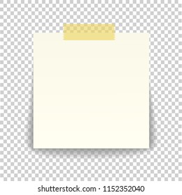 Paper sheet on translucent sticky tape with transparent shadow isolated on a transparent background. Empty note template for your design. illustration.