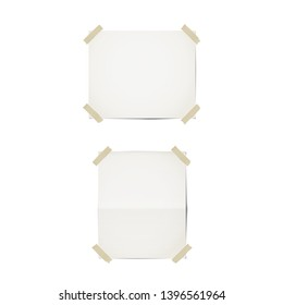 Paper sheets templates. Isolated on white. Sheets of paper and adhesive tape. Horizontal and vertical