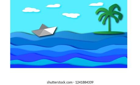 A paper ship floats along the sea beside a palm island