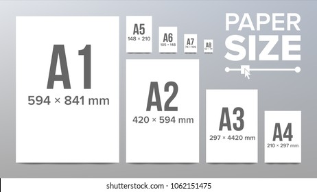 Paper Sizes. A1, A2, A3, A4, A5, A6 A7 A8 Paper Sheet Formats Isolated Illustration