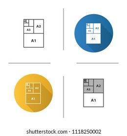 Paper sizes icon. Paper sheet formats. A3, A1, A2. Flat design, linear and color styles. Isolated raster illustrations