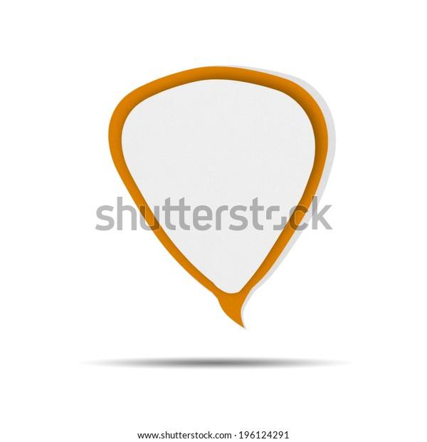 Paper Speech Bubble orange on white background