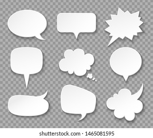 Paper speech bubbles. White blank thought balloons, shouting box. Vintage speech and thinking expression  bubble set. Speak message cartoon graphic cloud shape