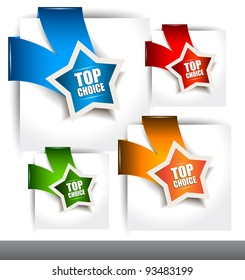 """Paper Style """"TOP CHOICE"""" tags with TRANSPARENT shadows. You can place it on every surface!"""
