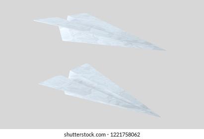 Paper texture plane. Aeroplane. 3d illustration