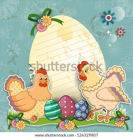 Paper Ticket Egg Shaped Chicken Easter Stock Illustration