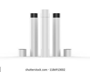 Paper Tube case Mockup with black foil on the white background, 3d illustration