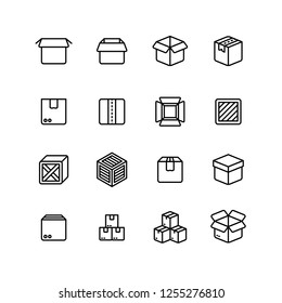 Paper and wood box line icons. Shipping packing outline pictograms
