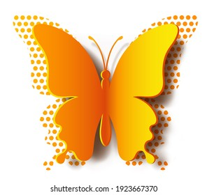 Paper yellow realistic butterfly with shadow and polka dot butterfly on white background. Silhouette of this butterfly is perfect for stickers, greeting cards and gift certificates
