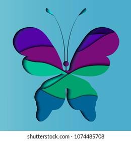 Papercat.Papercut batterfly.3D papercut layers in gradient texture vector banner