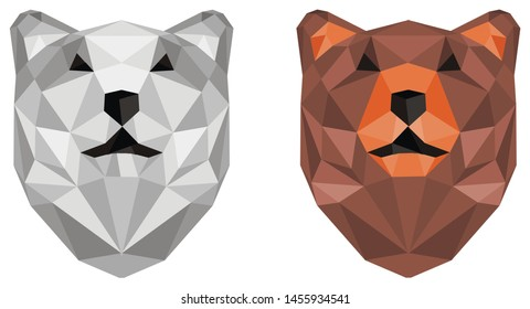 papercraft two different heads of bears