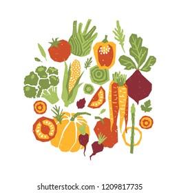 Papercut style vegetables composition. Organic vegetables.