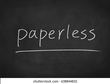 paperless concept word on a chalkboard background