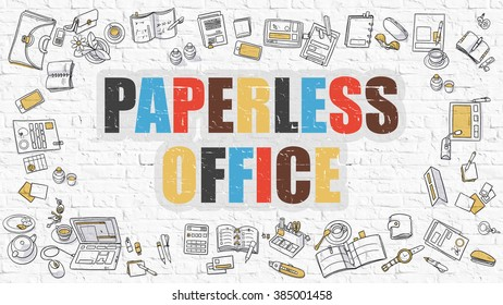 Paperless Office Concept. Modern Line Style Illustration. Multicolor Paperless Office Drawn on White Brick Wall. Doodle Icons. Doodle Design Style of  Paperless Office  Concept.