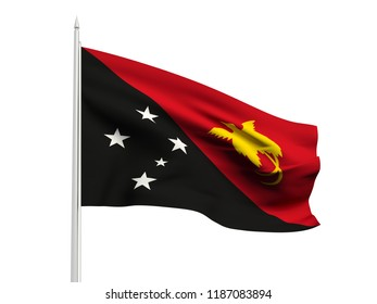 Papua New Guinea flag floating in the wind with a White sky background. 3D illustration.