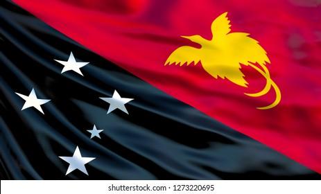 Papua New Guinea flag. Waving flag of Papua New Guinea 3d illustration. Port Moresby
