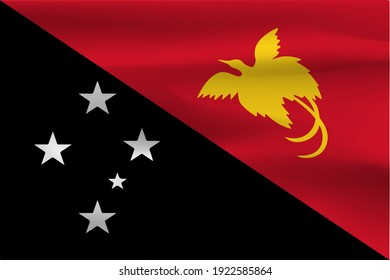 Papua New Guinea Independence State flag with beautiful wrinkled fabric weight flags.