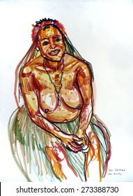 Papuan tribal girl in Wamena, Baliem valley, Jayawijaya, Papua province, Indonesia. Hand drawn illustration on natural color textured paper. Quick sketch drawing.
