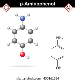 Para aminophenol chemical structure and model, 2d and 3d illustration, raster
