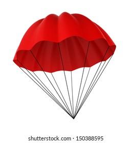 Parachute. 3d illustration on white background
