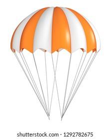 Fallschirm, orange mit Weiß, gestreift. 3D-Illustration einzeln auf Weiß