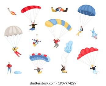 Parachute skydivers. Paraglide and parachute jumping characters on white, paragliders and parachutists illustration, skydiver hobby and sport activities