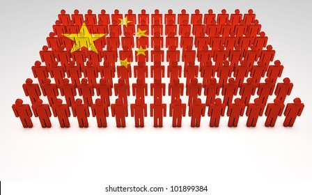 Parade of 3d people forming a top view of Chinese flag. With copyspace.