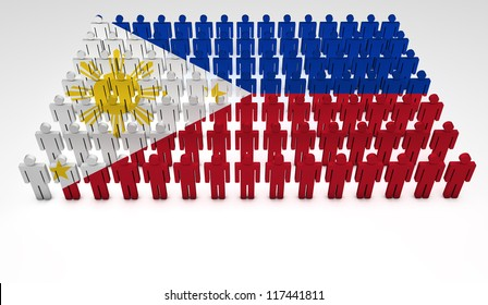 Parade of 3d people forming a top view of Philippines flag. With copyspace.