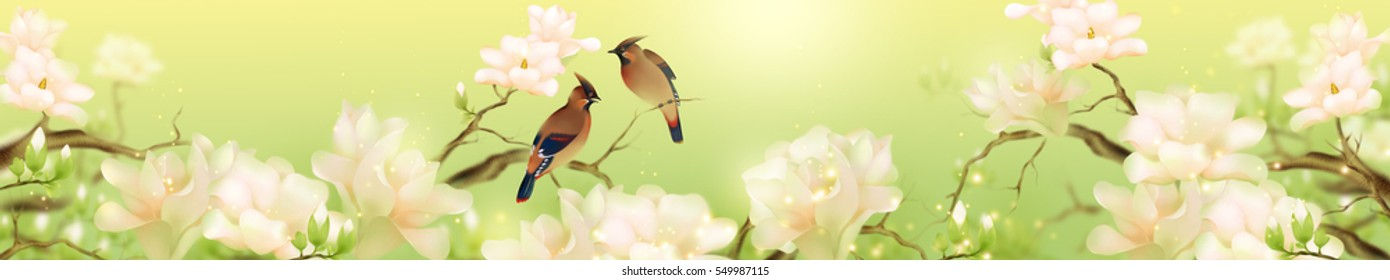 Paradise birds and vanilla flowers on green background. Horizontal panoramic art. Can be used for kitchen or salon design