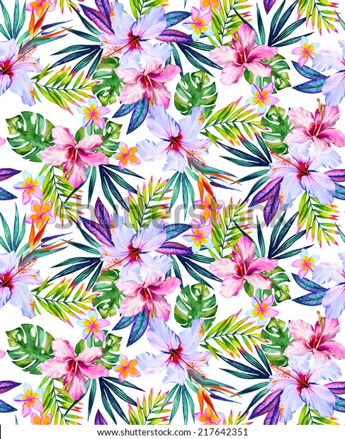 paradise garden seamless print with exotic flowers and leaves. Jungle palm leaves and hibiscus.