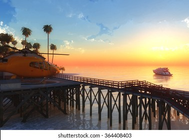 Paradise tropical island. Helicopter and super-yacht on beautiful yellow sunset