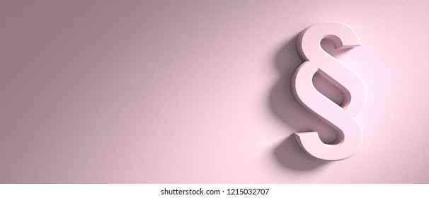 Paragraph concept, section sign on pink wall background, banner, copy space. 3d illustration