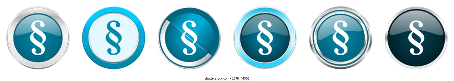 Paragraph silver metallic chrome border icons in 6 options, set of web blue round buttons isolated on white background