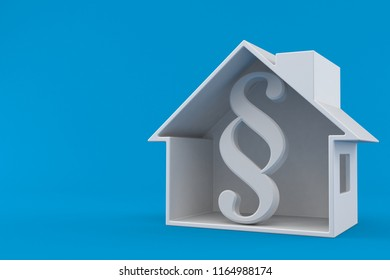 Paragraph symbol inside house cross-section isolated on blue background. 3d illustration
