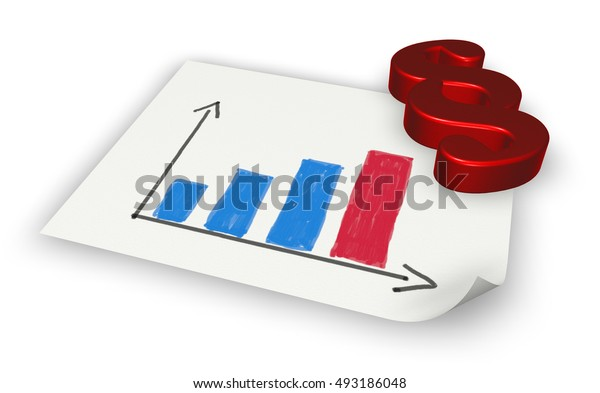 paragraph symbol and paper sheet with business graph - 3d rendering
