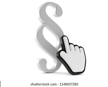 Paragraph symbol with web cursor isolated on white background. 3d illustration