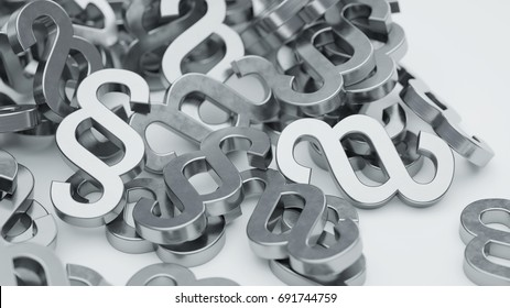 paragraph symbols on white background with copy space 3d rendering