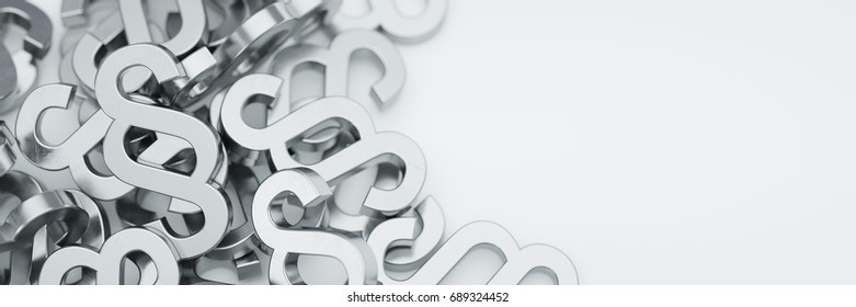 Paragraph symbols on white ground 3d rendering