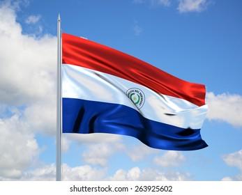 Paraguay 3d flag floating in the wind. 3d illustration.