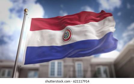 Paraguay Flag 3D Rendering on Blue Sky Building Background