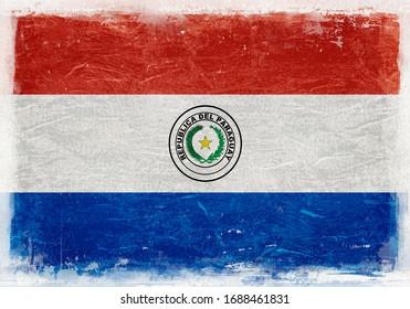 Paraguay Flag, Paraguay, Paraguay Flag Background, Grunge Flag Background, Vintage Flag Background, Banner, Wallpaper,