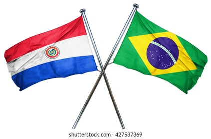 Paraguay flag  combined with brazil flag