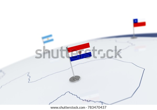 Paraguay flag. Country flag with chrome flagpole on the world map with neighbors countries borders. 3d illustration rendering flag