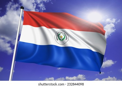Paraguay flag with fabric structure against a cloudy sky